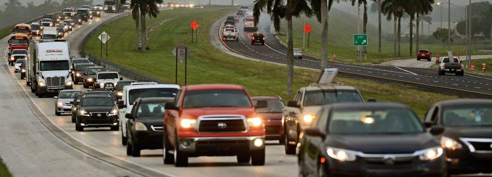 Traffic in the Florida Keys before Hurricane Irma hits near Homestead, Florida.