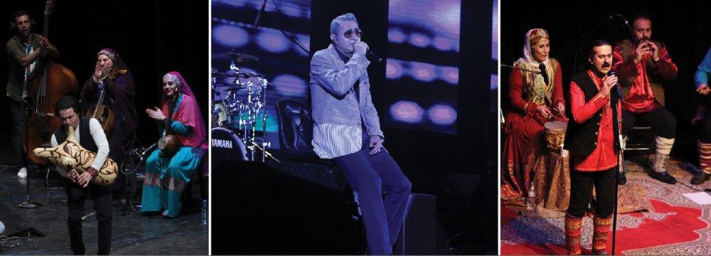 Performances by the folk music band Rastak (L), veteran pop singer Fereydoun Asraei (C) and folk music ensemble Dilmun