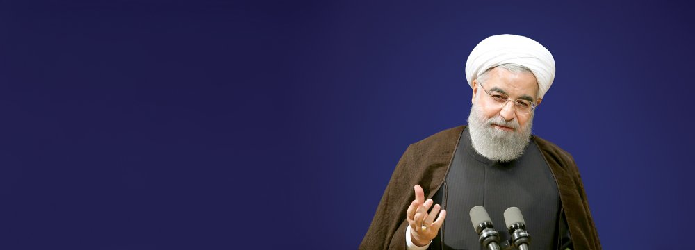 President Hassan Rouhani addresses an economic conference in Tehran on April 8.