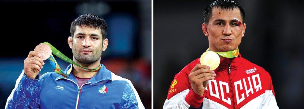 Saeed Abdevali (L) and Roman Vlasov at 2016 Rio Olympics