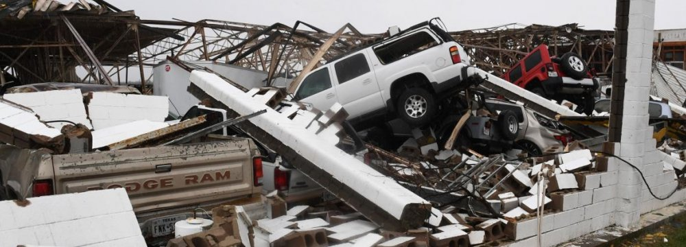 A destroyed building at Rockport Airport on August 26.