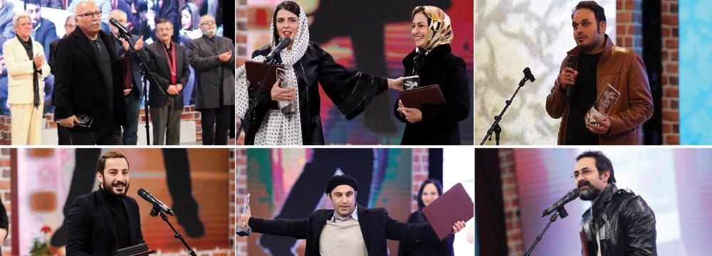 From top left clockwise: Alireza Davoudnejad, Leila Hatami, Merila Zarei, Mohammad Hossein Mahdavian, Vahid Jalilvand, Mohsen Tanabandeh and Navid Mohammadzadeh