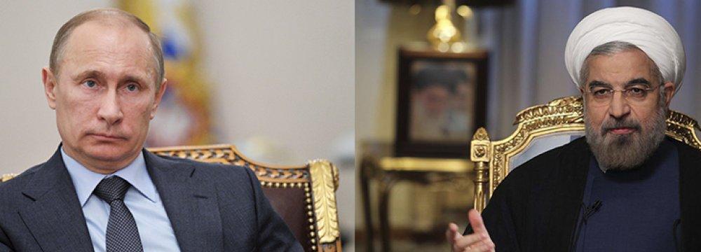 Rouhani,  Putin Discuss Ties, Region