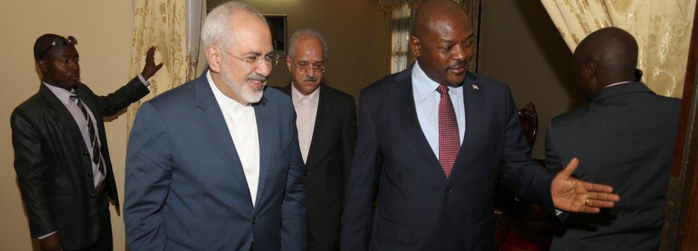 Zarif, Burundi Leaders Review Collaboration