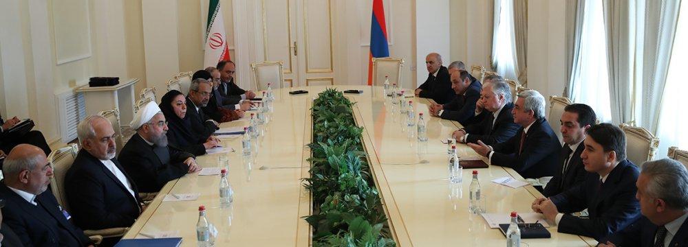Iranian and Armenian delegations meet in Yerevan on Dec. 21.