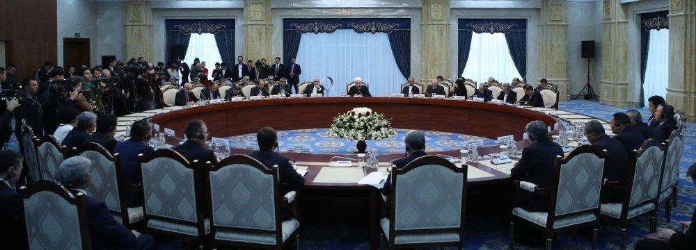 Iranian and Kyrgyz delegations meet in Bishkek on Dec. 23.