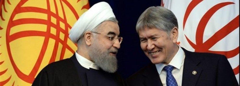 Iran's President Hassan Rouhani (L) and his Kyrgyz counterpart, Almazbek Atambayev, in Bishkek, Kyrgyzstan, on Dec. 23.