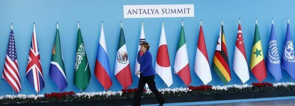 Angela Merkel at the G20 summit in Antalya, Turkey, in Nov. 2015.
