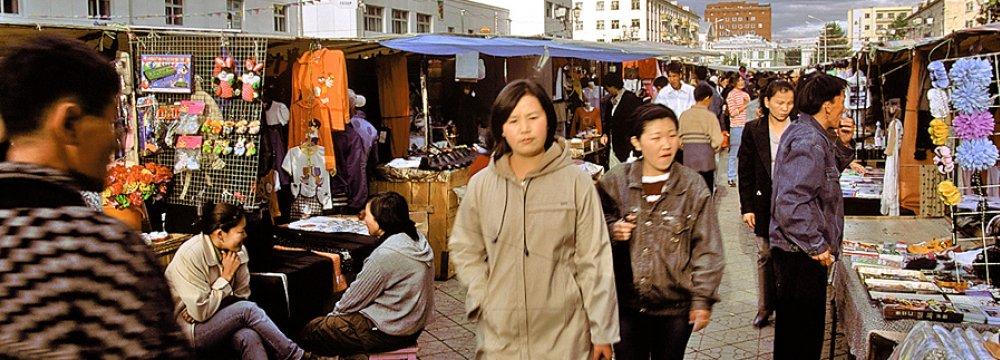 An open-air market in the capital city, Ulaanbaatar.