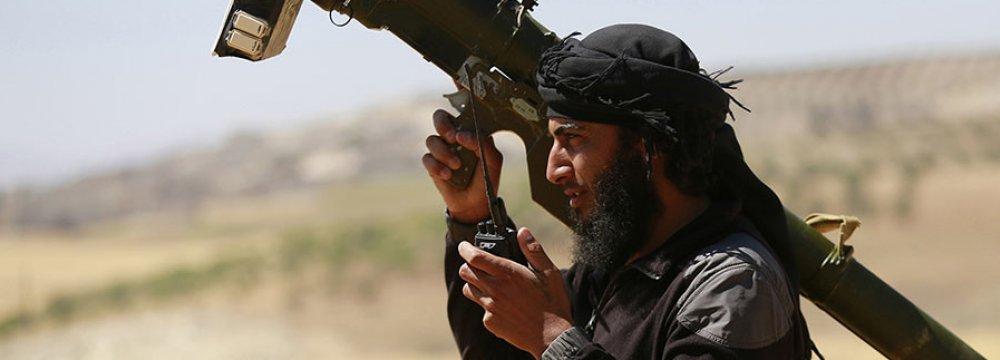 A militant holding a man-portable air defense systems