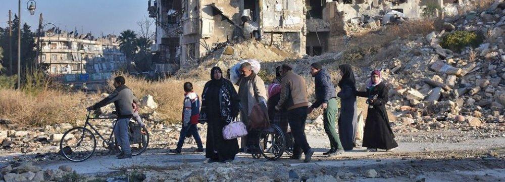 Civilians on the move in Aleppo