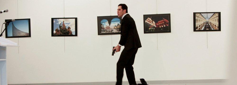 Scene of the assassination of Russia's ambassador to Turkey