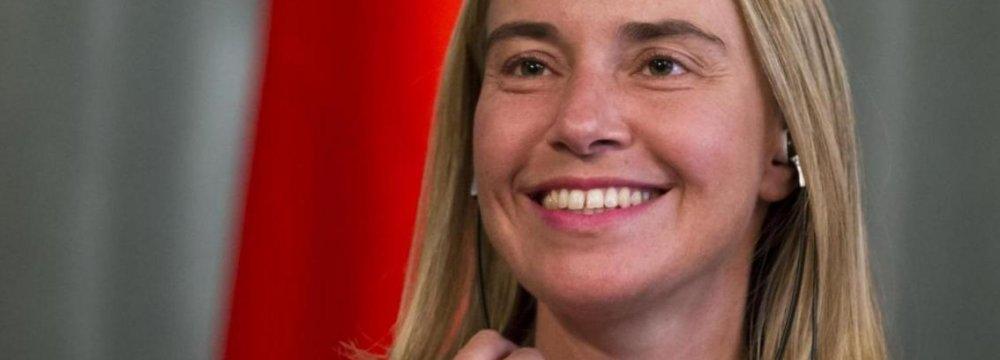 Mogherini  to Visit on  April 16