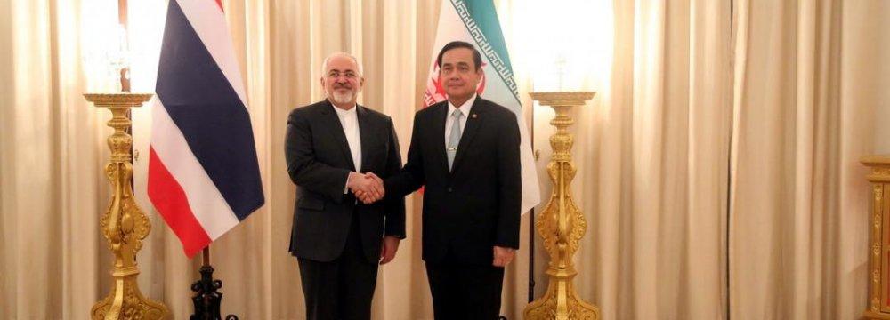 Zarif, Thai PM Explore Fields of Cooperation