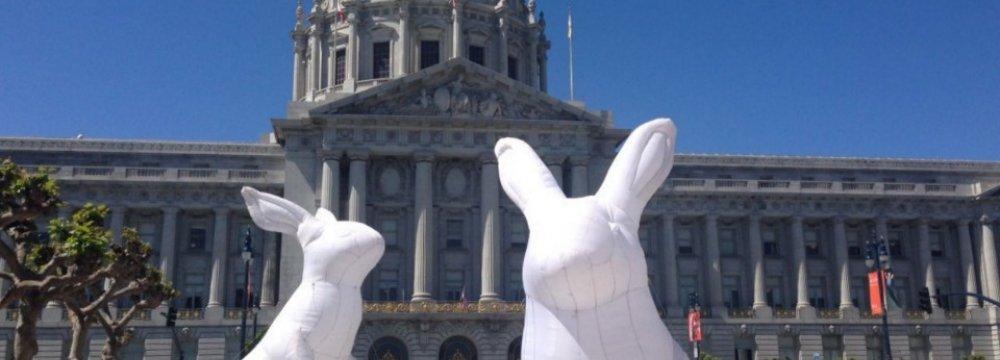 Inflatable Rabbits Displayed at San Francisco center