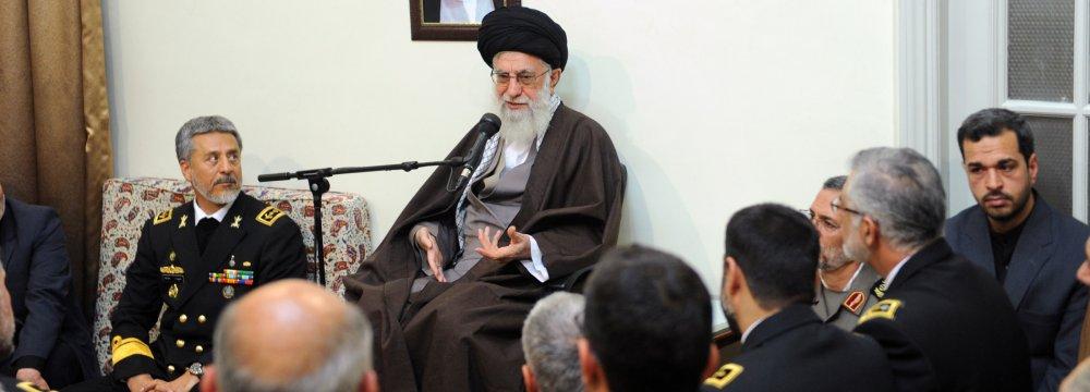 Leader of Islamic Revolution Ayatollah Seyyed Ali Khamenei addresses Navy commanders and officials in Tehran on Nov. 27.
