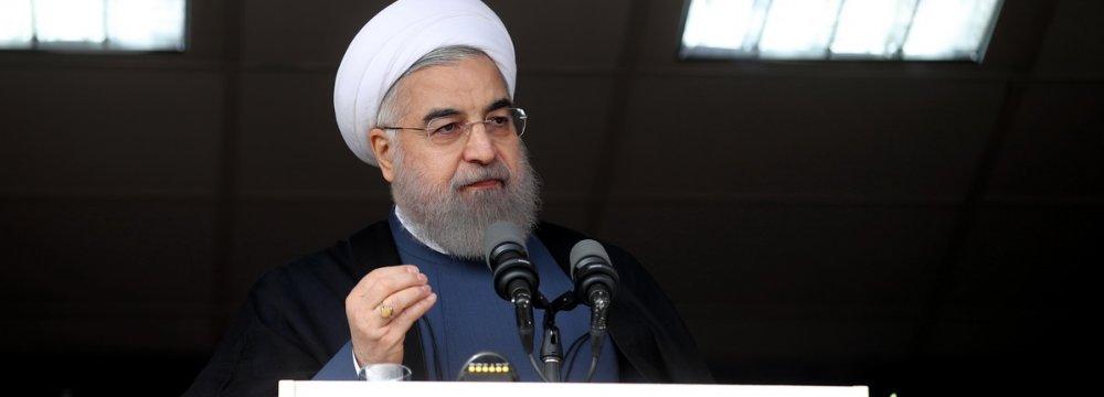 President Hassan Rouhani addresses a public gathering in Karaj, Alborz Province, on Nov. 16.