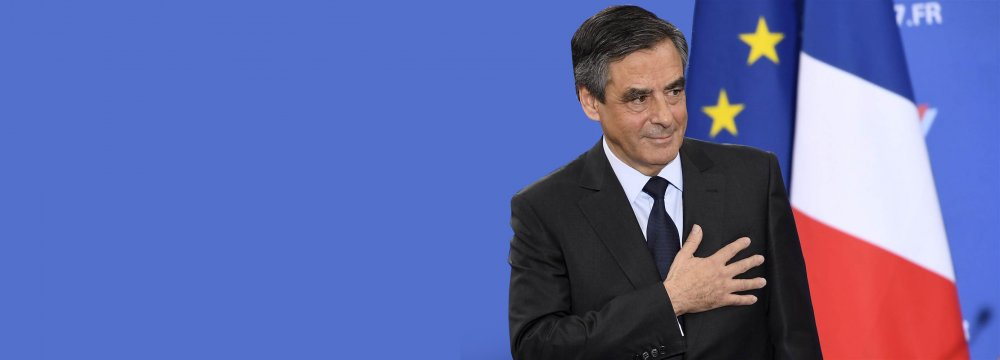 Francois Fillon gestures as he delivers a speech following the first results of the primary's second round on Nov. 27.