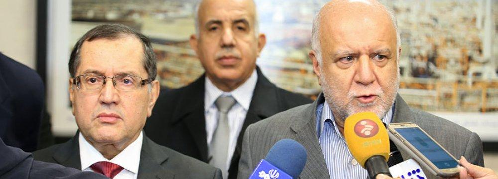 Algerian Energy Minister Noureddine Boutarfa (L) and Iranian Oil Minister Bijan Namdar Zanganeh in Tehran on Nov. 26.
