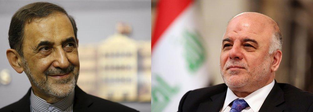 Leader's Advisor, Iraqi PM Discuss Anti-Terror Fight