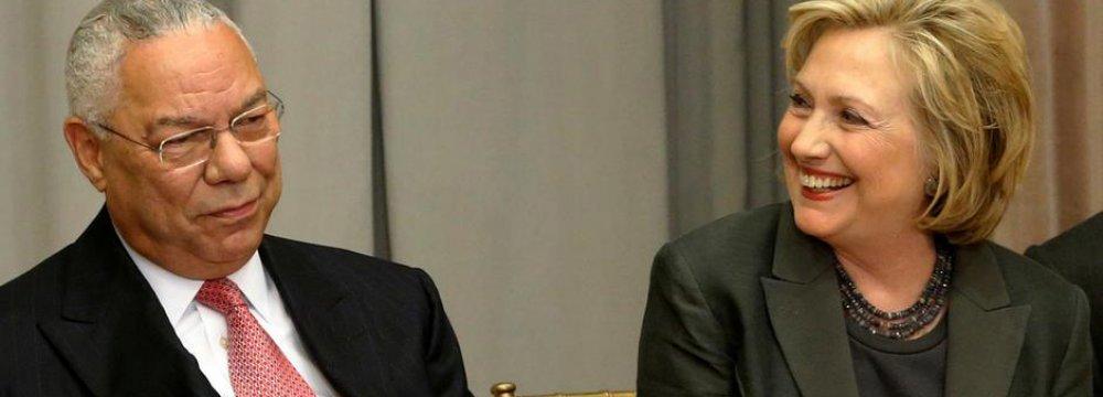 Powell Backs Clinton as Trump Warns of World War III
