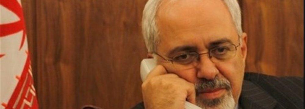 Zarif, China's Wang Discuss Ties
