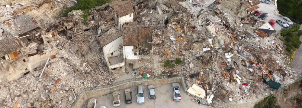A drone photo shows the damages following an earthquake in Pescara del Tronto, central Italy.