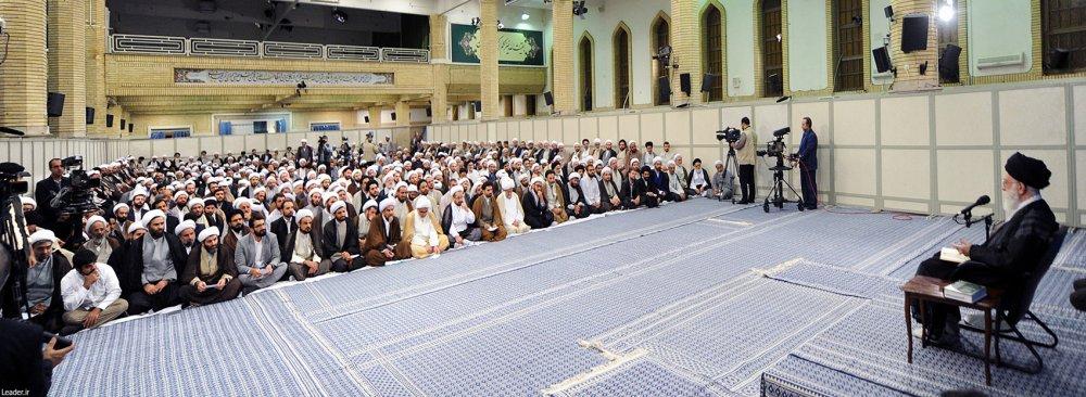 Ayatollah Seyyed Ali Khamenei addresses theological students in Tehran on Sept. 6.