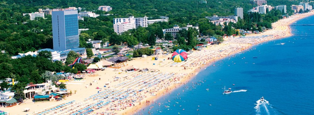 Aerial view of the seaside resort of Golden Sands in northern Bulgaria, where 60% of the total hotel capacity were occupied by Iranian holidaymakers.