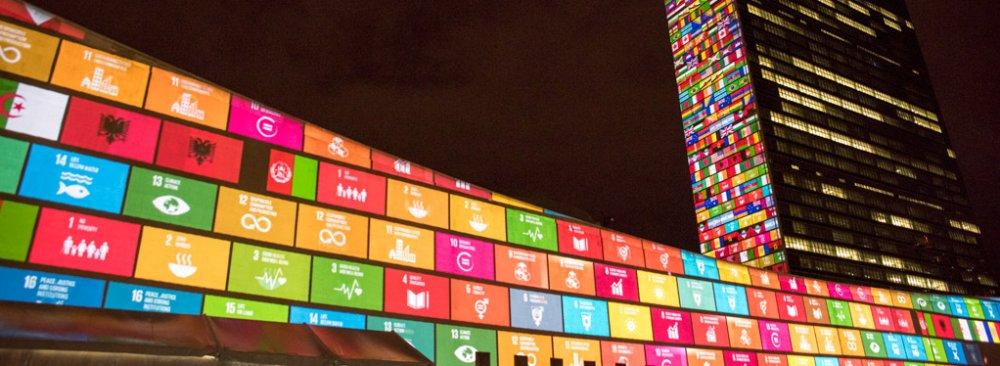 The SDGs projected onto UN Headquarters.