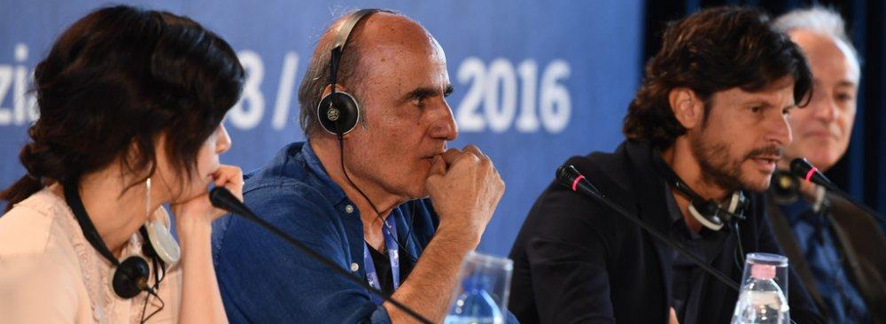 Claudia Potenza (L), Amir Naderi (C) and Andrea Sartoretti in the press conference at Venice Film Festival, September 5.