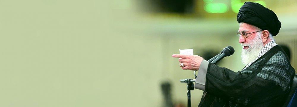 Ayatollah Seyyed Ali Khamenei addresses IRGC commanders in Tehran on Sept. 18.