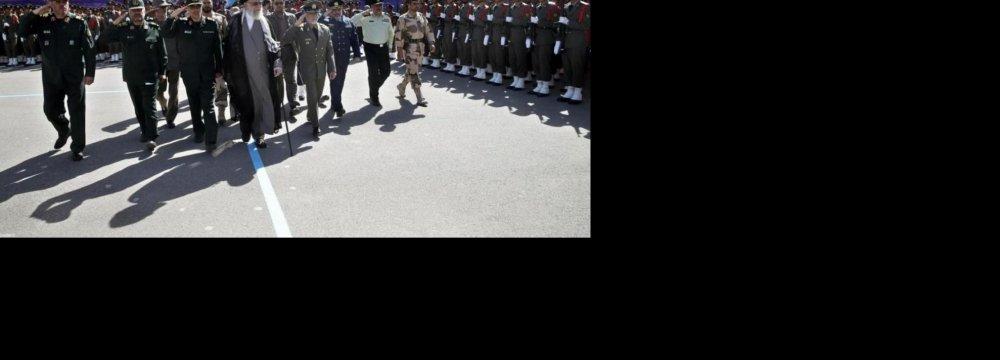 Ayatollah Seyyed Ali Khamenei attends a graduation ceremony at Shahid Sattari Military Academy in Tehran on Sept. 28.