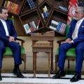 Afghan Chief Executive Abdullah Abdullah (R) and Deputy Foreign Minister Abbas Araqchi in Kabul on Tuesday.