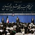 Ayatollah Seyyed Ali Khamenei receives the staff and students of Tehran Province's theological schools on Aug. 28.