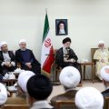 Leader of Islamic Revolution Ayatollah Seyyed Ali Khamenei addresses members of the Assembly of Experts during a meeting in Tehran on Thursday.