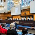 Members of the International Court of Justice attend a hearing on Iran at the International Court.