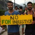 Asylum seekers protest on Manus Island, Papua New Guinea, in this picture taken from social media November 3.