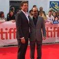 Asghar Farhadi (R) and Javier Bardem