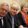 (From R-L) British Premier Theresa May, Boris Johnson and David Davis (File Photo)